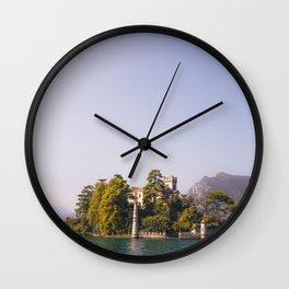 Castle in Lago Iseo, Italy |  Italian castle on an island |  Travel Photography Wall Clock