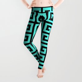 Greek Key (Black & Turquoise Pattern) Leggings