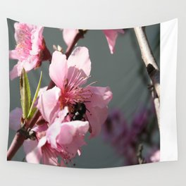 Unidentified Winged Insect On Peach Tree Blossom Wall Tapestry