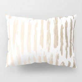 White Gold Sands Vertical Dash Pillow Sham
