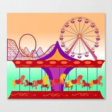 Colorful Amusement Park vector Canvas Print