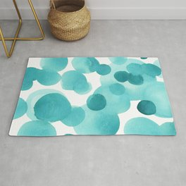 Aqua Bubbles: Abstract turquoise watercolor painting Rug