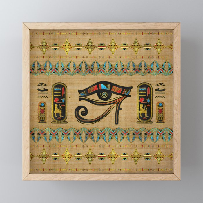 Egyptian Eye of Horus Ornament on papyrus Framed Mini Art Print