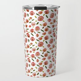 Poppies Hand-Painted Watercolors in Rose Pink on White Travel Mug