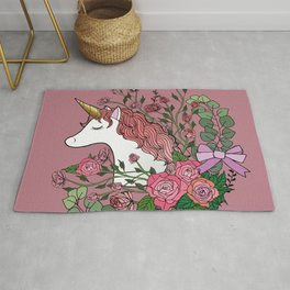 Unicorn in a Pink Rose Garden Rug