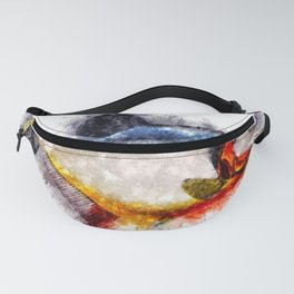 Red Bellied PIRANHA Watercolor Art for the Fishing Lovers and Anglers / Gifts for Fisherman Fanny Pack