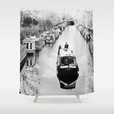 London canal during winter Shower Curtain