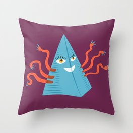 Weird Blue Pyramid Character With Tentacles Throw Pillow