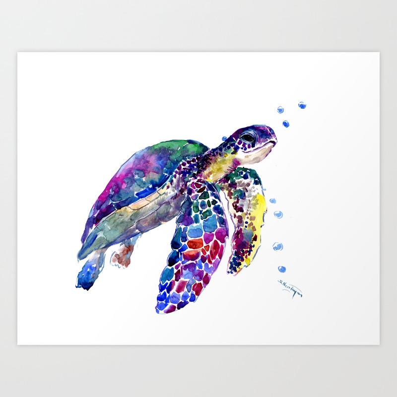 - Sea Turtle Rainbow Colors, Turtle Design Illustration Artwork