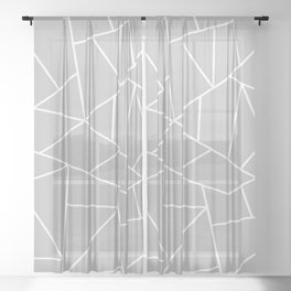 White Mosaic Lines On Silver Gray Sheer Curtain