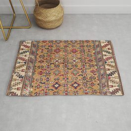 Mustard Khyrdagyd // 19th Century Colorful Dark Red Purple Southwestern Cowboy Ornate Accent Pattern Rug