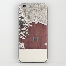 Red Barn on a Snowy Day iPhone & iPod Skin