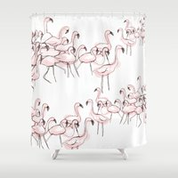 flamingos Shower Curtains featuring Flamingos by Madeleine Groves