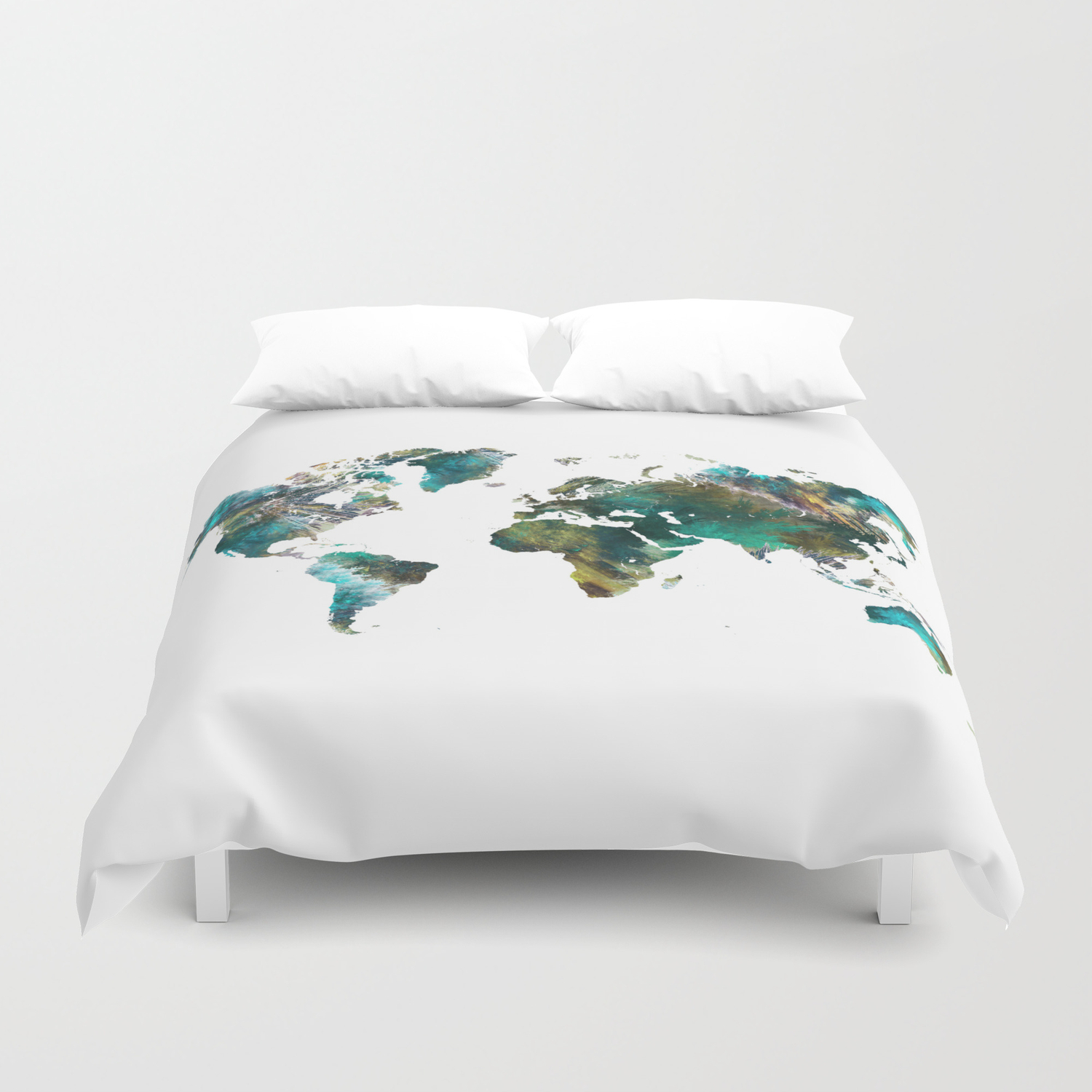 Map of the World tree #map #world Duvet Cover