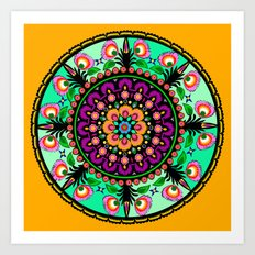 round flower collage Art Print