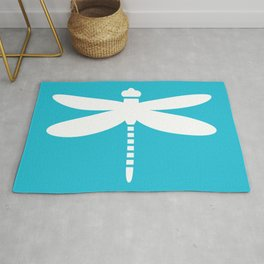 Dragonfly (white on blue) Rug