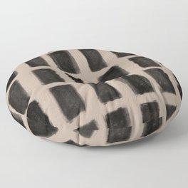 Brush Strokes Vertical Lines Black on Nude Floor Pillow