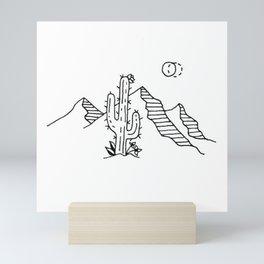 Desert Saguaro Cactus Mountain Range Under Double Moon Mini Art Print