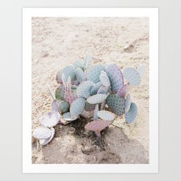 Pink and Mint Cactus Art Print