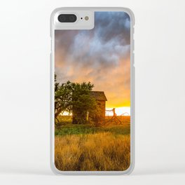 Windswept - Tree Sway in Wind Alongside Old Barn During Fiery Sunset in Oklahoma Clear iPhone Case