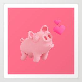 Rosa the Pig kisses Art Print