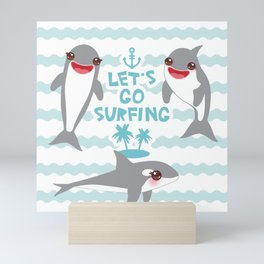 Lets go surfing. Cartoon kawaii dolphin Mini Art Print