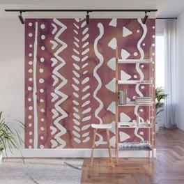 Loose boho chic pattern - purple brown Wall Mural