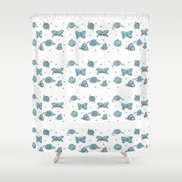 Butterfly flutterby blue petite Shower Curtain