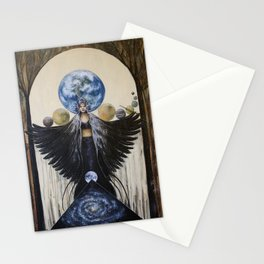 Between the Worlds // Visionary Art Woman Goddess Feminine Earth Moon Planets Stars Stationery Cards