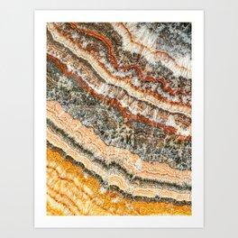 Agate Crystal III // Red Gray Black Yellow Orange Marbled Diamond Luxury Gemstone Art Print