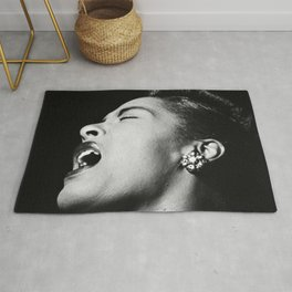 Billie Holiday, 1940's black and white photograph / photography / photographs Rug
