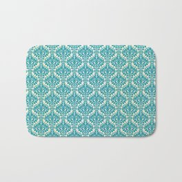 Teal and Ecru Damask Bath Mat