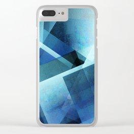 Vivid Blue Shapes - Digital Geometric Texture Clear iPhone Case