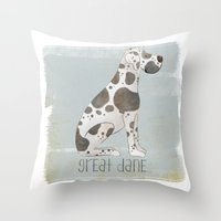 great dane Throw Pillows featuring Great Dane by 52 Dogs