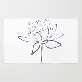 Lotus Blossom Calligraphy Blue Rug