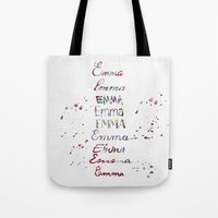 emma stone Tote Bags featuring Emma by Watercolorist