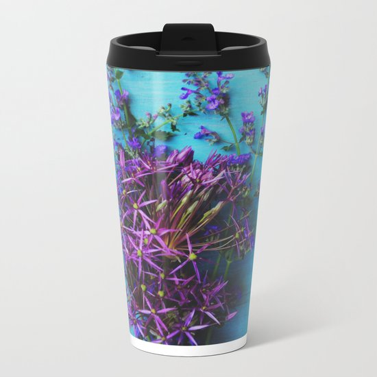 She Found Stray Flowers and Brought Them Home Metal Travel Mug