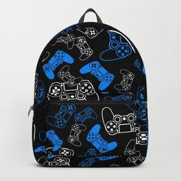 Video Games Blue on Black Backpack