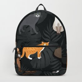 Set of vector cats depicting different breeds and fur color standing sitting and walking Backpack