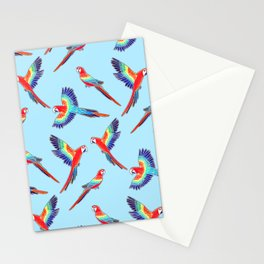 Simple Golden Red Macaws - Baby Blue Stationery Cards