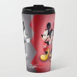 Old School New School Mickey and Minnie  Travel Mug