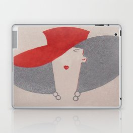 Art Deco Lady Wearing Red Hat Laptop & iPad Skin
