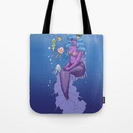 Cute Purple Fat Mermaid Tote Bag