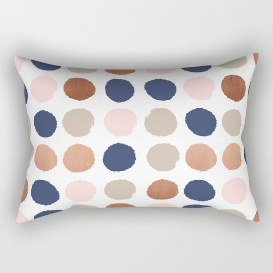 Rose Gold navy copper sparkle modern dots polka dots rosegold trendy pattern cell phone accessories Rectangular Pillow
