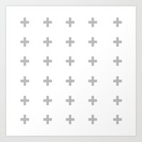gray pattern Art Prints featuring +++ (Gray) by N A T