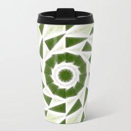 Green White Kaleidoscope Art 3 Travel Mug