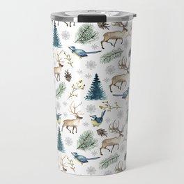 Winter forest. White pattern Travel Mug