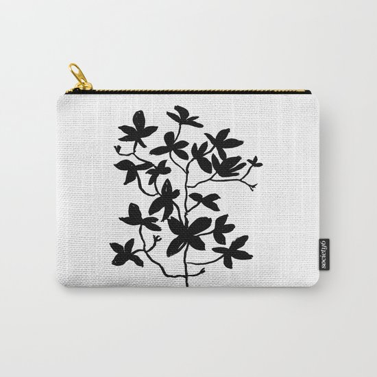 Plant black and white minimal modern art india ink painting brushstrokes freespirit brooklyn hipster Carry-All Pouch