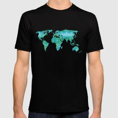 Watercolor World Map Mens Fitted Tee Black MEDIUM