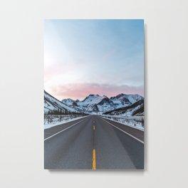 Mountain Road Sunrise Metal Print